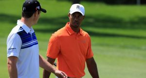 Tiger Woods walks with his playing partner Justin Rose  during the  Arnold Palmer Invitational. Photograph: Getty