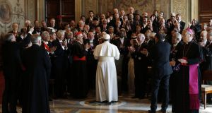 Pope Francis greets ambassadors and diplomats from the 180 countries that have diplomatic relations with the Holy See at the end of an audience at the Vatican yesterday. Photograph: Tony Gentile/AP Photo