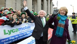 President Michael D.Higgins with his wife Sabina photographed during the St.Patrick's Day Parade in Dublin last Sunday. Photograph: Brenda Fitzsimons /The Irish Times