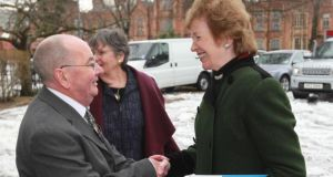 Vincent McCormack (left), husband  of Inez McCormack, and former  president Mary Robinson at an event yesterday in the Elmwood Hall, Belfast, to celebrate the life and work of the  trade unionist and human rights activist. The event saw the launch of the Inez McCormack Fund, which will support the work of the Participation and the Practice of Rights organisation, which she founded in 2006. Photograph: PA