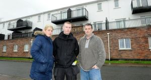 Foxford Court residents in Lucan, Dublin, from left,  Denise Murphy, Paul Kavanagh and  Paul Coleman. Photograph: Dave Meehan