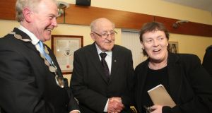 Mayor of Tramore Cllr Joe Conway, Irish Times former rugby correspondent  Edmund Van Esbeck, and Cllr Ann Marie Power  at Tramore Civic Offices,  Co Waterford,  where Mr Van Esbeck and Irish Times editor Kevin O'Sullivan, two of the town's natives,  were  honoured  with a civic reception. Photograph:  Patrick Browne