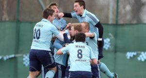 Monkstown's players celebrate their Irish senior cup victory over Pembroke. Photograph: Inpho