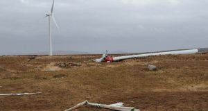 The wind turbine which was blown over near Ardara, Co. Donegal, at the weekend.