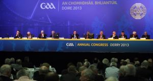 A view of the top table at GAA annual congress in Derry. Photograph: Lorcan Doherty/Inpho/Presseye