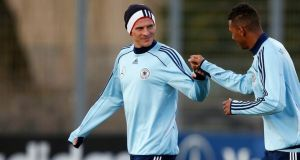 Mario Gomez and Jerome Boateng during a Germany training session last week. Photograph: Lisi Niesner/Reuters