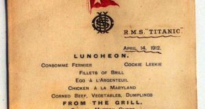 The menu of the last lunch  first-class passengers enjoyed on the ill-fated Titanic on April 14th, 1912. Diners were offered corned beef, vegetables and dumplings, salmon mayonnaise, Norwegian anchovies, potted shrimps and soused herrings for lunch. The menu goes on display today at the Titanic Belfast visitor centre.