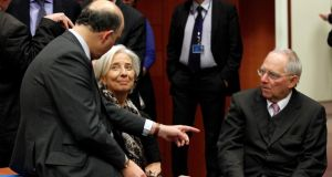 France's finance minister Pierre Moscovici (left), IMF managing director Christine Lagarde, and Germany's finance minister Wolfgang Schäuble  at  a Eurogroup meeting  in Brussels.  Photograph: Sebastien Pirlet/Reuters