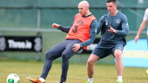Conor Sammon (left) has been selected to lead the line for the Republic of Ireland against Austria at the Aviva Stadium tonight.