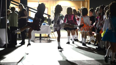 Dancers warming up for the under-14 competition. Photograph: Cyril Byrne/Irish Times