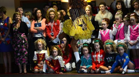 A group watching an exhibition. Photograph: Cyril Byrne/Irish Times
