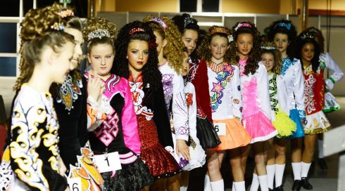 Dancers  in the under-14 category wait for their  competition to start.  Photograph: Cyril Byrne/Irish Times
