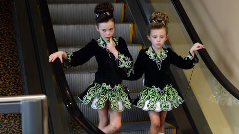 Competitors Leah Johnston and Caoimhe Miskelly from Belfast. Photograph: Cyril Byrne/Irish Times