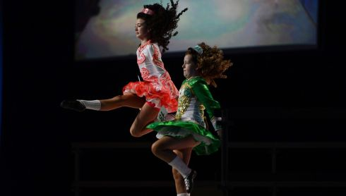 Amy Doyle, Cookstown and Amber Scully Dublin competing in the World Title competition.   Photograph: Cyril Byrne/Irish Times