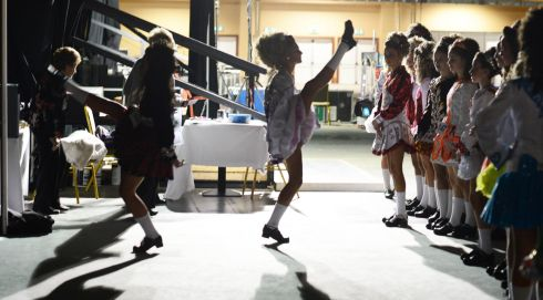 Dancers in the under-14s waiting for their  competition to start. Photograph: Cyril Byrne/Irish Times