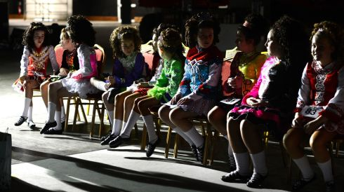 Competitors in the under-12 reel and jig  waiting  in the wings. Photograph: Cyril Byrne/Irish Times