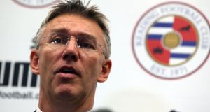 Reading's new manager Nigel Adkins speaks to the press at the Madejski Stadium on Tuesday morning. Photograph: Steve Parsons/PA Wire