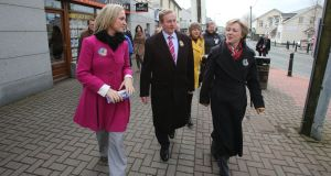 Fine Gael candidate Helen McEntee (left) is joined Taoiseach Enda Kenny and TD Regina Doherty (right) in Ratoath: Photograph: Niall Carson/PA Wire