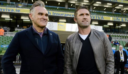 Republic of Ireland striker Robbie Keane meets Morrissey, former frontman of The Smiths, ahead of the game at the Aviva Stadium. Photograph: David Maher/SPORTSFILE.