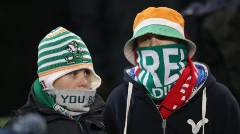 Ireland fans feel the chill in the Aviva Stadium ahead of the game. Photograph: Lorraine O'Sullivan/Inpho.