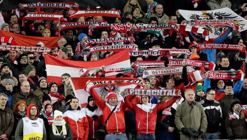 Austrian fans make some noise ahead of kick-off. Photograph: Lorraine O'Sullivan/Inpho.