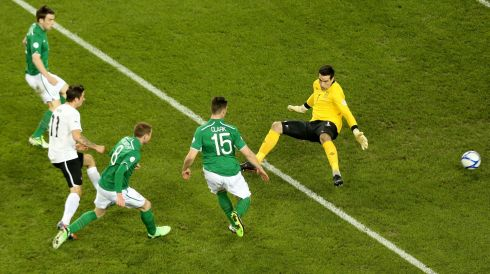 Austria's Martin Harnik capitalised on an Irish defensive mistake to roll the ball past David Forde and open the scoring on 11 minutes. Photograph: James Crombie/Inpho.