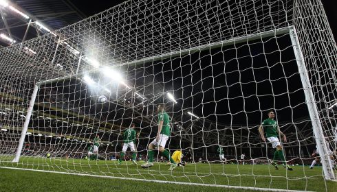 The Irish players react after Austria's Martin Harnik opens the scoring on 11 minutes. Photograph: Lorraine O'Sullivan/Inpho.