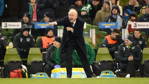 Republic of Ireland manager Giovanni Trapattoni shouts directions to his players during the game. Photograph: Dara Mac Donaill/The Irish Times.