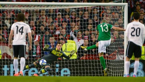 Ireland's Jonathan Walters puts his penalty past Austria's goalkeeper Heinz Linder to make the score 1-1 after 25 minutes. Photograph: Russell Cheyne/Reuters.
