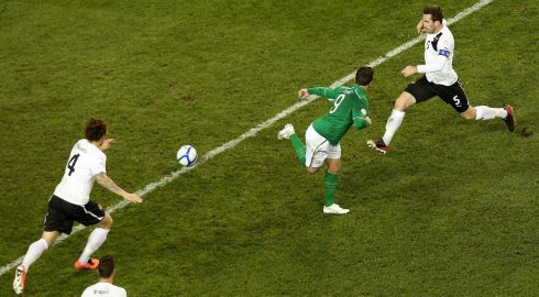 Ireland's Shane Long hit the post with an audacious backheeled effort during the first-half. Photograph: James Crombie/Inpho.