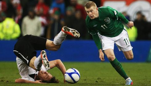 Republic of Ireland's James McClean sends  Austria's Julian Baumgartlinger tumbling during the game. Photograph: Niall Carson/PA Wire.