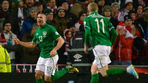 Ireland's Jonathan Walters (L) celebrates his second goal on the stroke of half-time. Photograph: Russell Cheyne/Reuters.