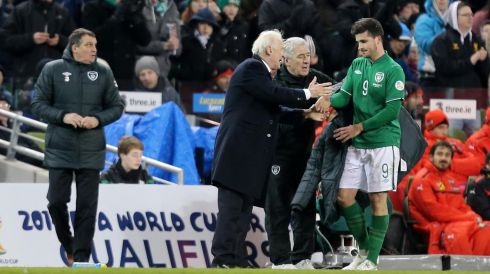 Ireland's manager Giovanni Trapattoni shakes hands with Shane Long as he is replaced. Photograph: James Crombie/Inpho.