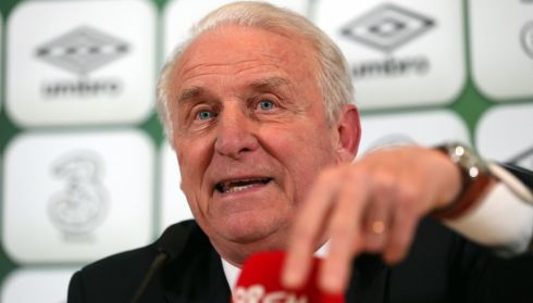 Giovanni Trapattoni at the post match press conference. Photograph: Donall Farmer/Inpho.
