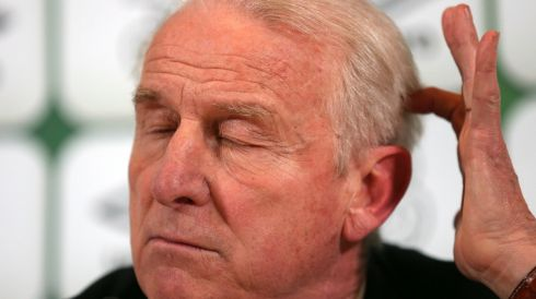 Giovanni Trapattoni during the post match press conference. Photograph: Donall Farmer/Inpho.