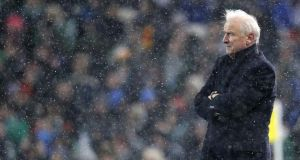 Republic of Ireland manager Giovanni Trapattoni watchese the match against Austria at a wintry Aviva Stadium. Photograph: Morgan Treacy/Inpho