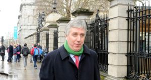 John Delaney of the FAI leaving the Dáil today after appearing before a committee looking at the effects of a possible ban on  sponsorship of sporting events by alcohol suppliers. Photograph: Dave Meehan