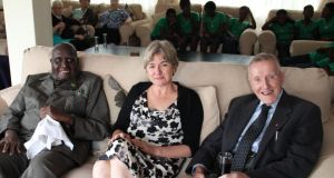 Lusaka home from home: Fr Prof Michael Kelly (right) with former Zambian president Kenneth Kaunda and Dr Charlotte Scott (wife of the current deputy president) at the Irish Ambassador's St Patrick's Day party earlier this month