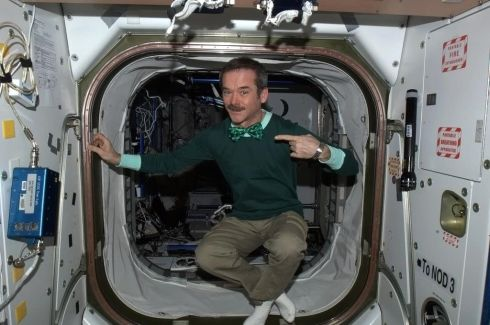 Wearing the green - Happy St. Patrick's Day from the International Space Station!  Photographs: Chris Hadfield