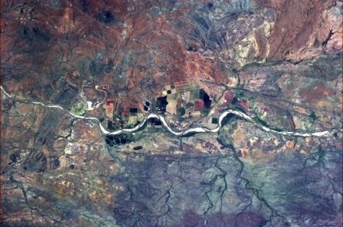 Intensive agriculture in a forbidding place, southern Africa. Like terraforming. Photographs: Chris Hadfield
