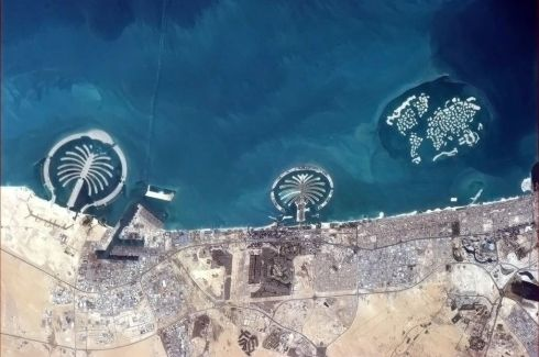 Some of the things we build for ourselves are puzzlingly visible from space. Such as the islands of Dubai. Photographs: Chris Hadfield