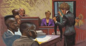 Trial by media: prosecutor Elizabeth Lederer examines Trisha Meili as defendants Yusef Salaam, Raymond Santana and Antron McCray listen. Court rendering courtesy of Christine Cornell