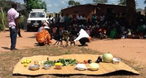 Near Mumbwa, in Zambia,  a  cookery class and goat-milking demonstration form  part of Concern's RAIN project