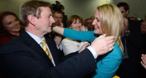 Taoiseach Enda Kenny congratulates Helen McEntee  on her victory in the Meath East byelection, as her mother Katlhleen (centre) watches at the count centre in Donaghmore, Ashbourne. Photograph: Alan Betson / THE IRISH TIMES