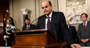 Pier Luigi Bersani during a news conference following a meeting with Italian president Giorgio Napolitano in Rome yesterday. Photograph:Tony Gentile/Reuters