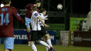 Ryan Brennan scores Drogheda's second goal against Dundalk. Photograph: Morgan Treacy/inpho