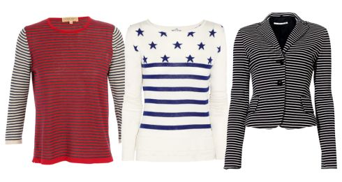 Zebra, graphic, pin or candy: Coloured striped cotton top by Diane de Clercq €265; Stars and Stripe sweater. Banjo & Matilda, €357 from netaporter.com; Black and white striped jacket. €129 by Part Two from atterlyroad.com