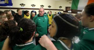 Ireland coach Philip Doyle during the  half-time talk against France in Ashbourne earlier this month. Photograph: Inpho