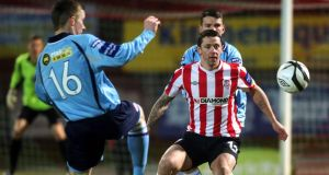 Derry striker Rory Patterson was on target for his fifth goal of the season. Photograph: Inpho
