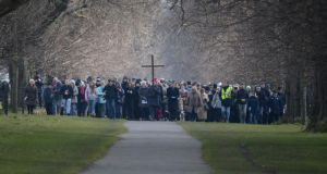 People take part in the Easter procession in the Phoenix Park led by Archbishop Diarmuid Martin. Photograph: Cyril Byrne/The Irish Times